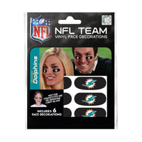 Miami Dolphins NFL Team Adhesive Face Decorations Pack of 6
