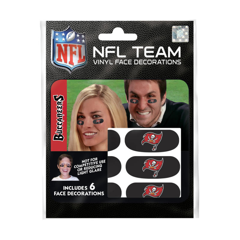Tampa Bay Buccaneers NFL Team Adhesive Face Decorations Pack of 6