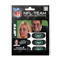 New York Jets NFL Team Adhesive Face Decorations Pack of 6