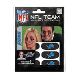 Detroit Lions NFL Team Adhesive Face Decorations Pack of 6