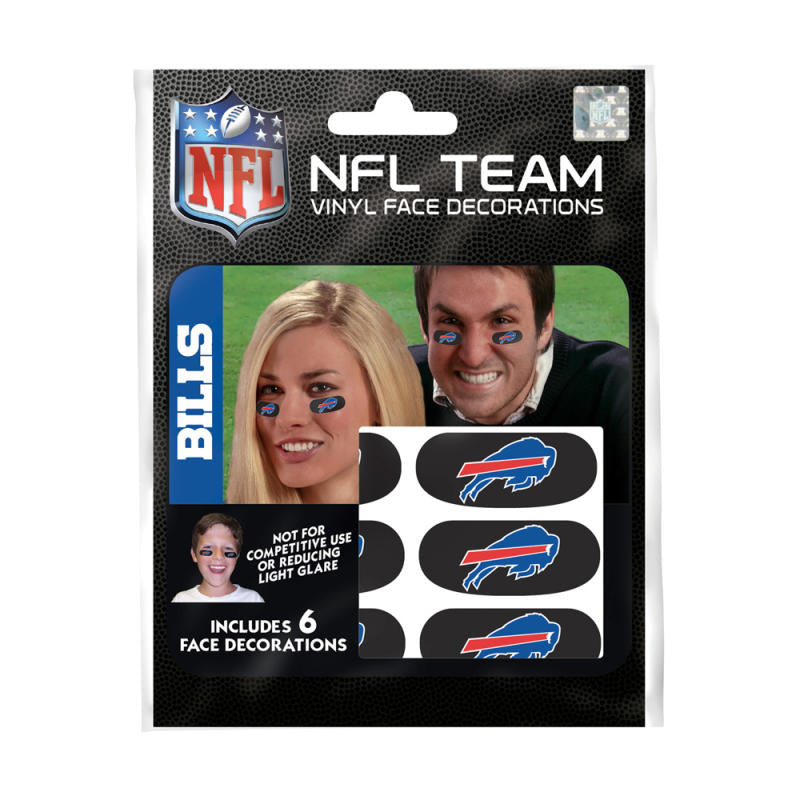Buffalo Bills NFL Team Adhesive Face Decorations Pack of 6