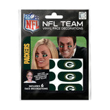 Green Bay Packers NFL Team Adhesive Face Decorations Pack of 6