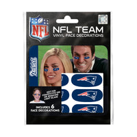 New England Patriots NFL Team Adhesive Face Decorations Pack of 6