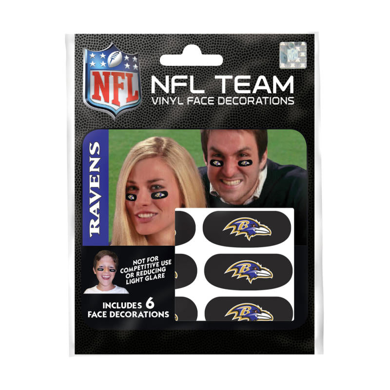 Baltimore Ravens NFL Team Adhesive Face Decorations Pack of 6