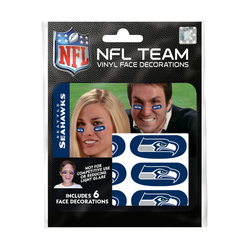 Seattle Seahawks NFL Team Adhesive Face Decorations Pack of 6