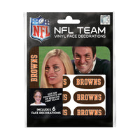 Cleveland Browns NFL Team Adhesive Face Decorations Pack of 6