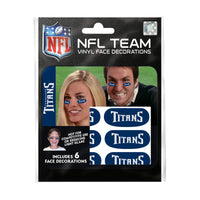 Tennessee Titans NFL Team Adhesive Face Decorations Pack of 6
