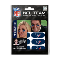 Houston Texans NFL Team Adhesive Face Decorations Pack of 6