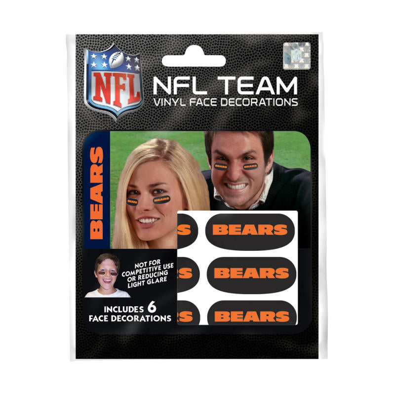 Chicago Bears NFL Team Adhesive Face Decorations Pack of 6