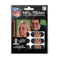 Cincinnati Bengals NFL Team Adhesive Face Decorations Pack of 6
