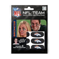 Denver Broncos NFL Team Adhesive Face Decorations Pack of 6