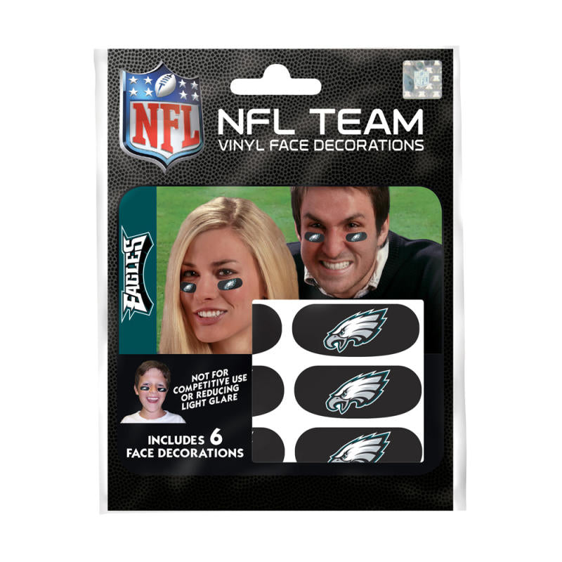 Philadelphia Eagles NFL Team Adhesive Face Decorations Pack of 6