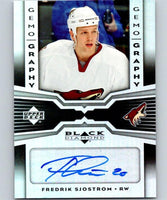 2005 Upper Deck Black Diamond Gemography Fredrik Sjostrom NHL Auto 04719