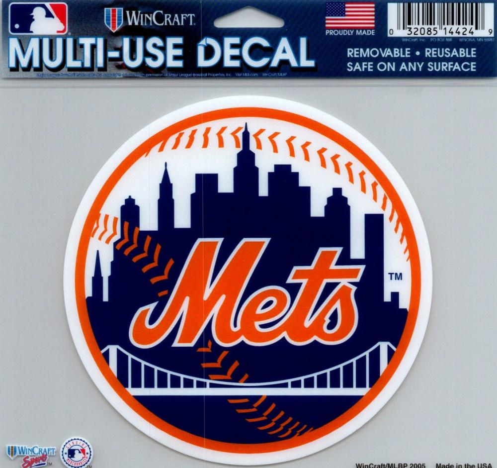 "New York Mets Multi-Use Decal Sticker 5""x6"" Clear Back"
