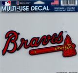 "Atlanta Braves Multi-Use Decal Sticker 5""x6"" Clear Back"