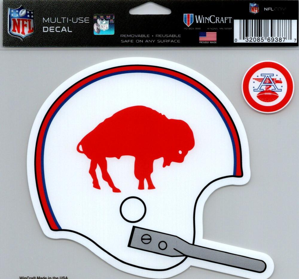 "Buffalo Bills Vintage Multi-Use Decal Sticker 5""x6"" NFL Clear Back"
