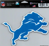 "Detroit Lions Multi-Use Decal Sticker 5""x6"" NFL Clear Back"
