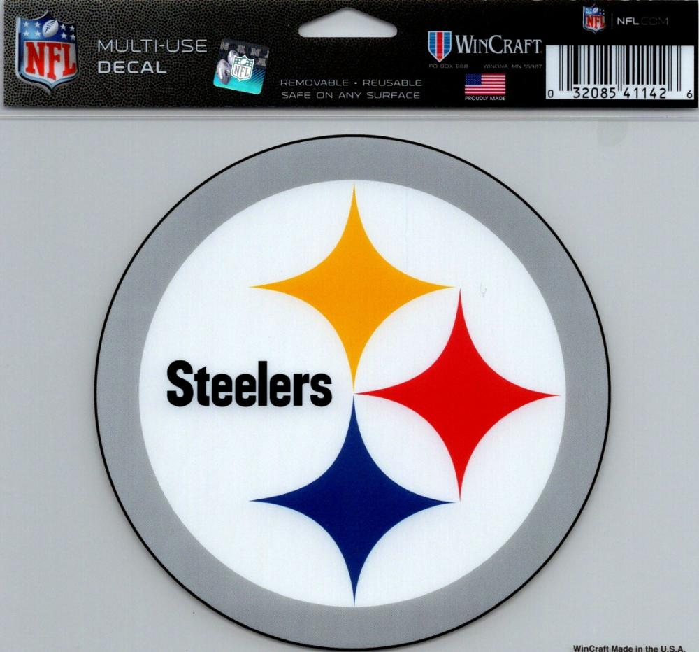 "Pittsburgh Steelers Multi-Use Decal Sticker 5""x6"" NFL Clear Back"