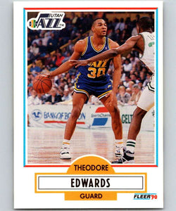 1990-91 Fleer #185 Blue Edwards RC Rookie Jazz NBA Basketball