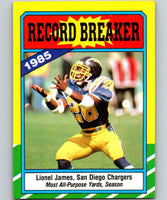 1986 Topps #3 Lionel James Chargers RB NFL Football