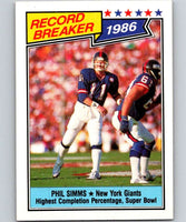 1987 Topps #8 Phil Simms NY Giants RB NFL Football