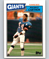1987 Topps #12 Maurice Carthon RC Rookie NY Giants NFL Football