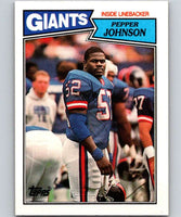 1987 Topps #28 Pepper Johnson RC Rookie NY Giants NFL Football