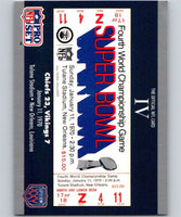 1990 Pro Set Super Bowl 160 #4 SB IV Ticket NFL Football