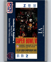 1990 Pro Set Super Bowl 160 #6 SB VI Ticket NFL Football