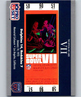 1990 Pro Set Super Bowl 160 #7 SB VII Ticket NFL Football