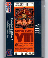 1990 Pro Set Super Bowl 160 #8 SB VIII Ticket NFL Football