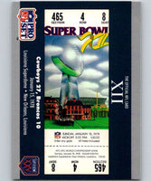 1990 Pro Set Super Bowl 160 #12 SB XII Ticket NFL Football