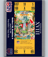 1990 Pro Set Super Bowl 160 #18 SB XVIII Ticket NFL Football