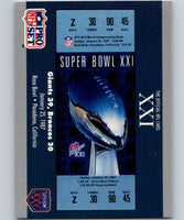 1990 Pro Set Super Bowl 160 #21 SB XXI Ticket NFL Football