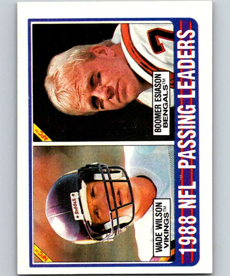 1989 Topps #217 Wade Wilson/Boomer Esiason Passing Leaders NFL Football