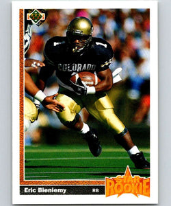 1991 Upper Deck #2 Eric Bieniemy RC Rookie Chargers SR NFL Football