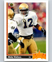 1991 Upper Deck #9 Ricky Watters RC Rookie 49ers SR NFL Football