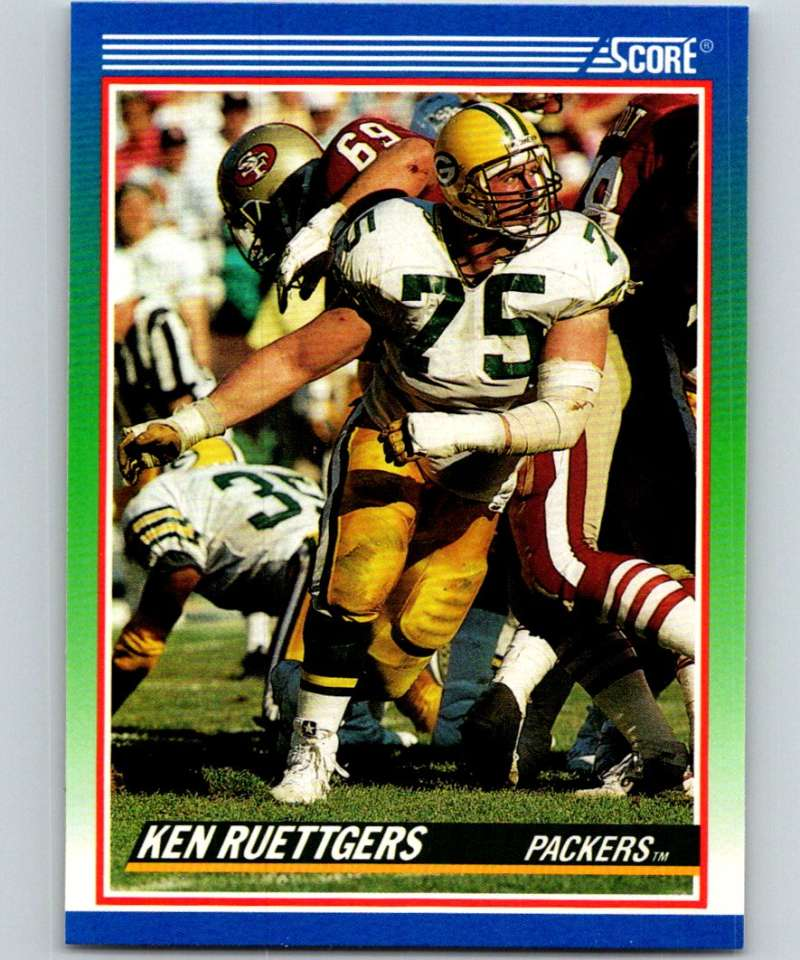 1990 Score #386 Ken Ruettgers Packers NFL Football