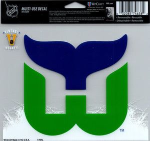 "Hartford Whalers Multi-Use Decal Sticker 5""x6"" Clear Back"
