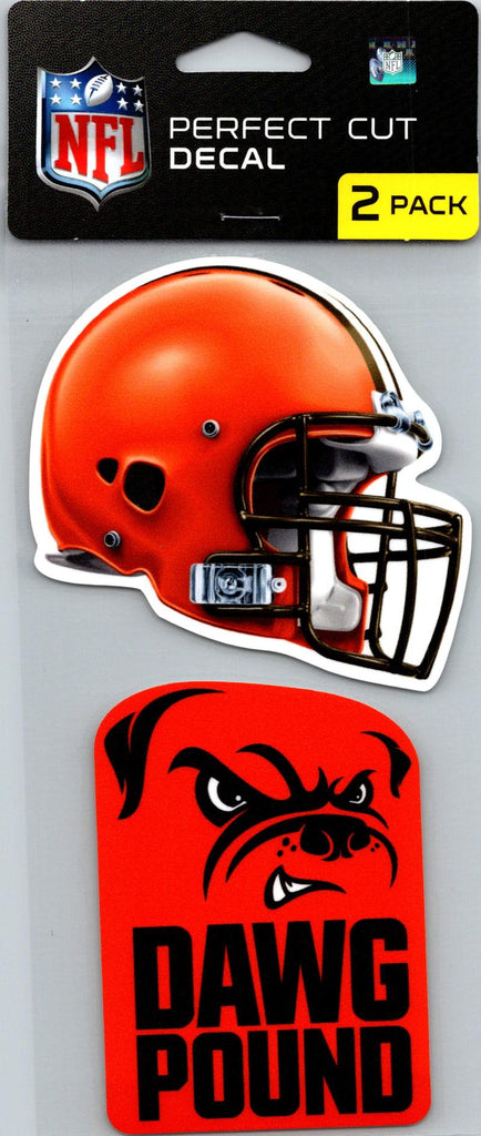 "Cleveland Browns Perfect Cut 4""x4"" Decal Sticker Pack of 2"
