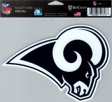 "Los Angeles Rams Multi-Use Decal Sticker 5""x 6"" NFL Clear Back NFL Football"