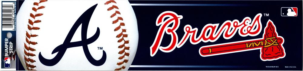 "Atlanta Braves 3"" x 12"" Bumper Strip MLB Baseball Sticker Decal"