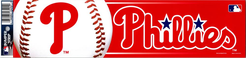 "Philadelphia Phillies 3"" x 12"" Bumper Strip MLB Baseball Sticker Decal"