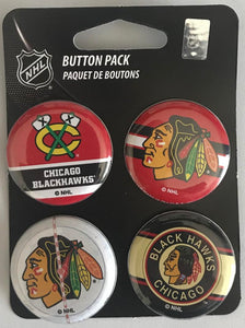 "Chicago Blackhawks Wincraft NHL Button 4 Pack 1.25"" Round Licensed"