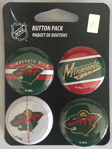 "Minnesota Wild Wincraft NHL Button 4 Pack 1.25"" Round Licensed"
