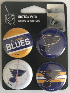 "St. Louis Blues Wincraft NHL Button 4 Pack 1.25"" Round Licensed"