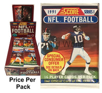 1991 NFL Score Football Trading Cards Sealed PACK - 16 Cards Per Pack
