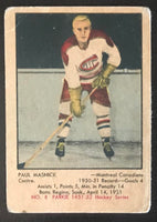 1951-52 Parkhurst #8 Paul Masnick RC Rookie Canadiens Vintage Hockey