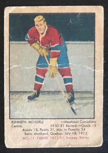 1951-52 Parkhurst #11 Ken Mosdell RC Rookie Canadiens Vintage Hockey