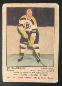 1951-52 Parkhurst #26 Bill Quackenbush RC Rookie Bruins Hockey Vintage